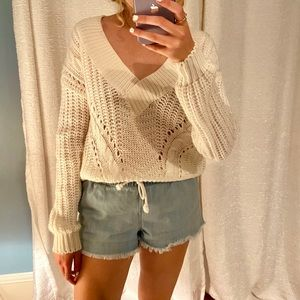 Urban outfitters white v-neck sweater
